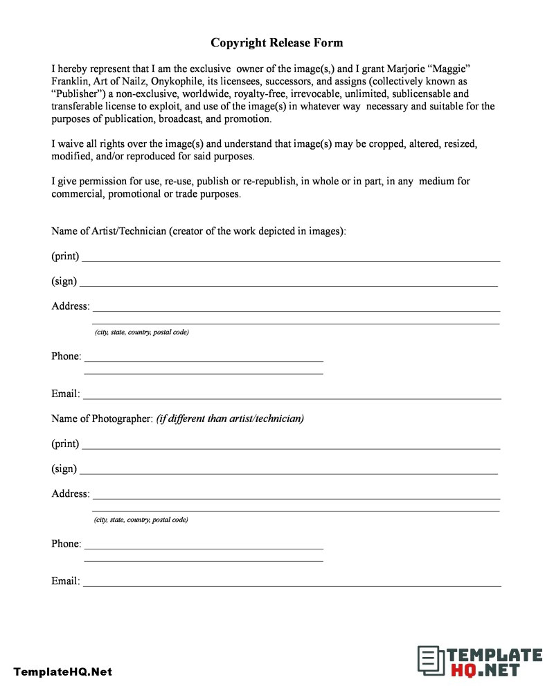 Printable Photo Copyright Release Form Release Form Cool Photos