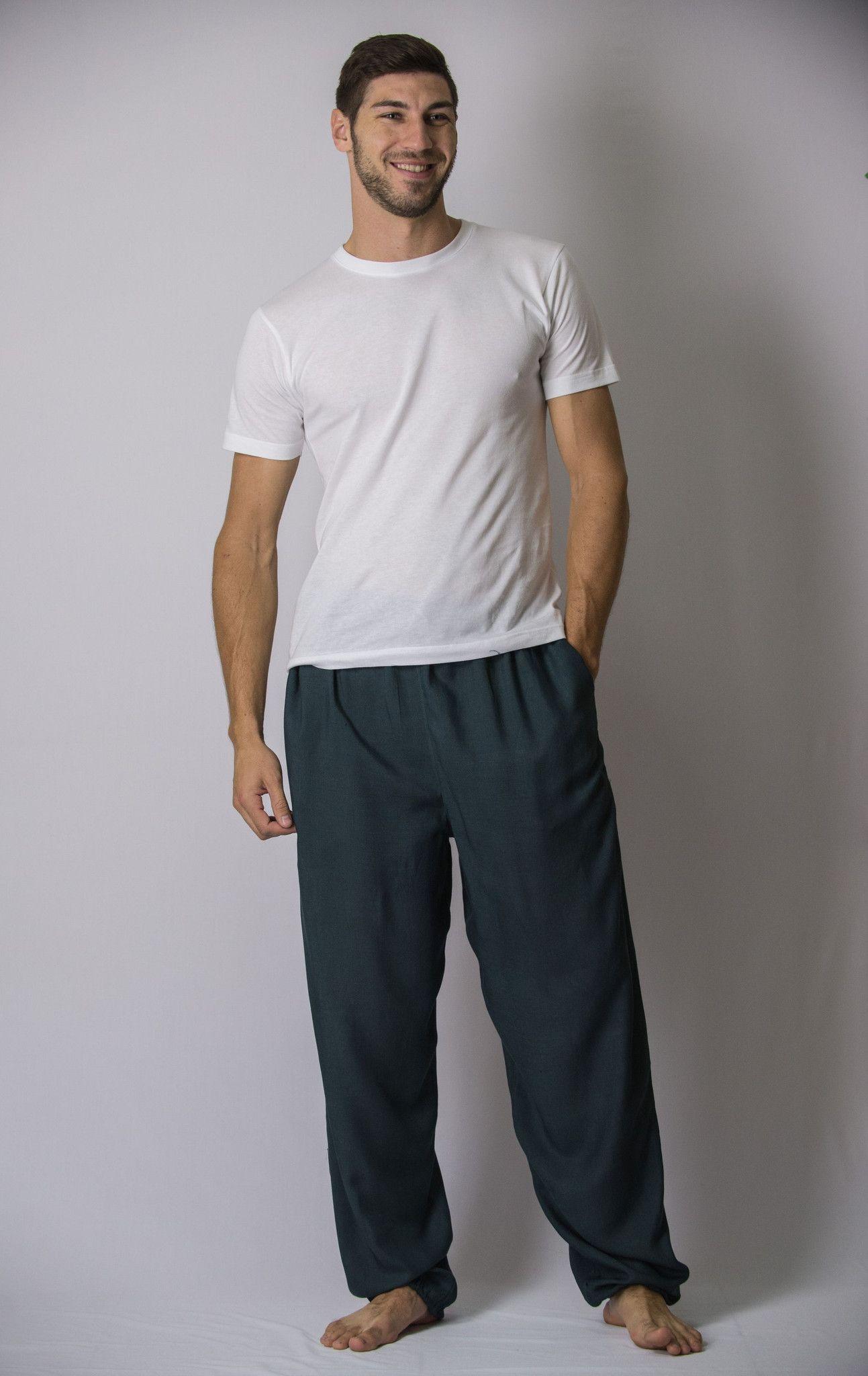 f8168ea881dd1d Solid Color Drawstring Men's Yoga Massage Pants in Dark Teal – Harem Pants  ✖️More Pins Like This One At FOSTERGINGER @ Pinterest✖️