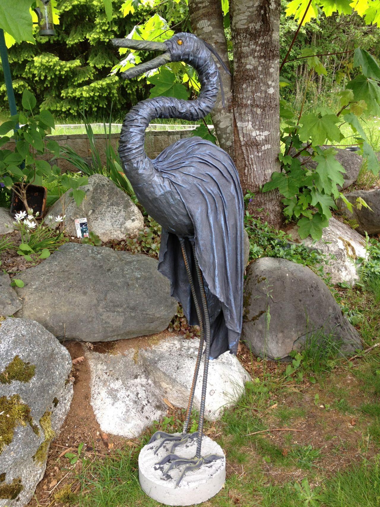 4 Foot High Heron Garten Deko Beton Kunst Draht Kunst Skulptur