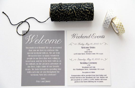 Wedding Welcome Bag Weekend Itinerary Cards By PaperPleaseStudio