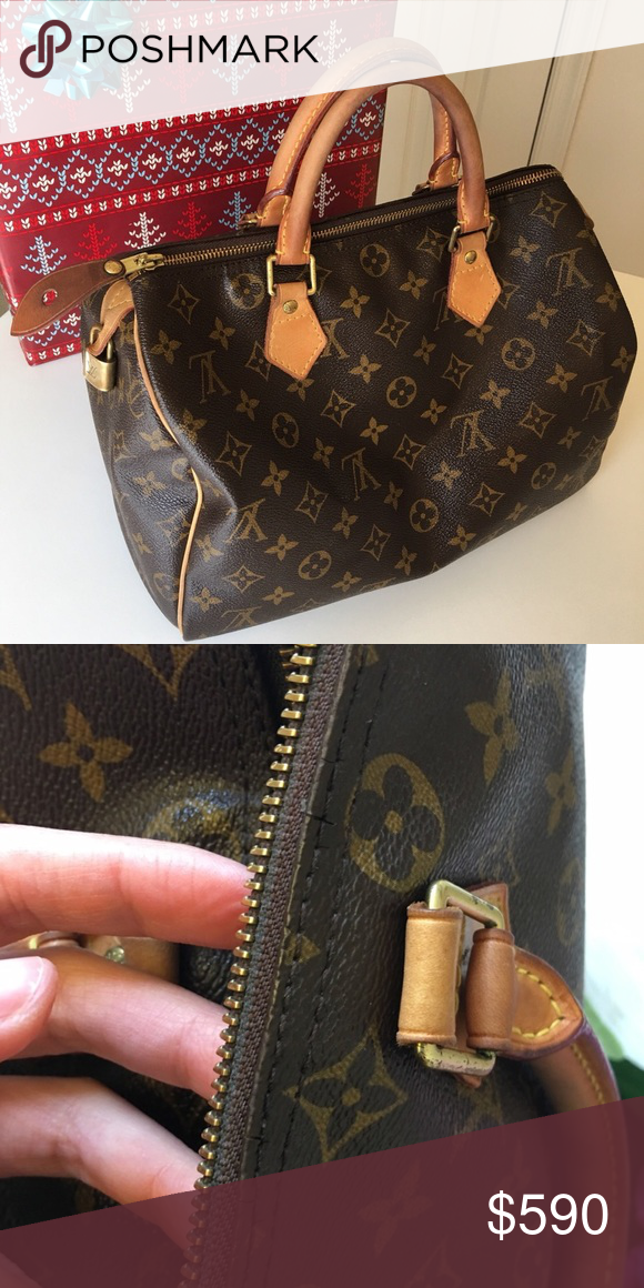 "9b64c315278c LV Speedy 30"" Preloved Louis Vuitton Speedy 30"" Normal aging on its  leather"