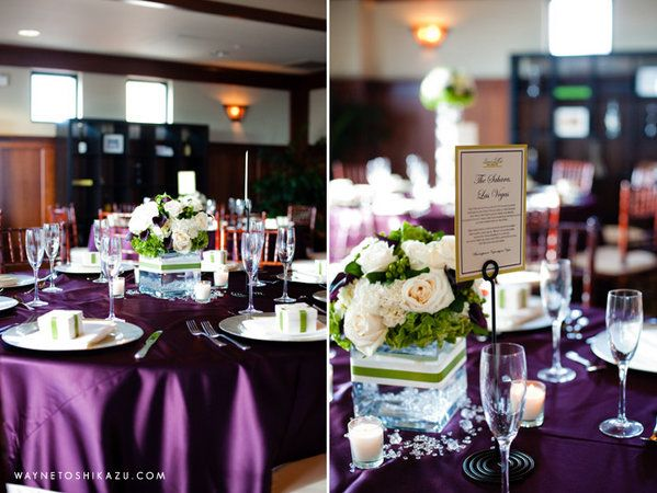 Eggplant And Silver Wedding Purple Centerpieces