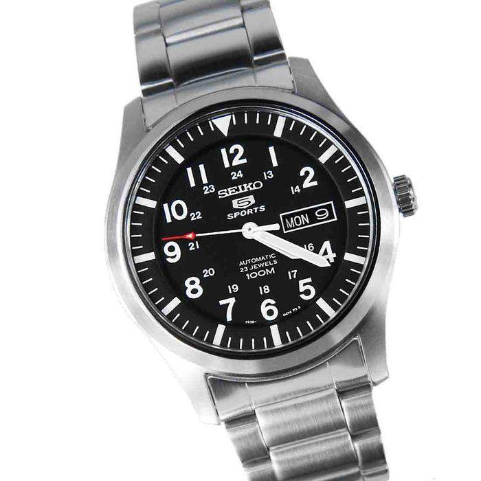2adc8cf6c Seiko Men's SNZG13 Seiko 5 Automatic Black Dial Stainless-Steel Bracelet  Watch