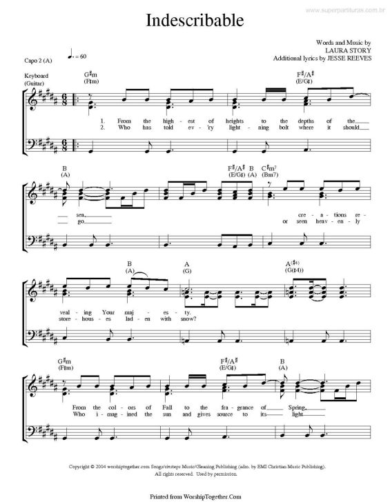 indescribable | partitura | Pinterest
