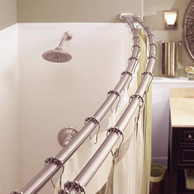 Bennington Adjustable Double Curved Shower Curtain Rod Satin