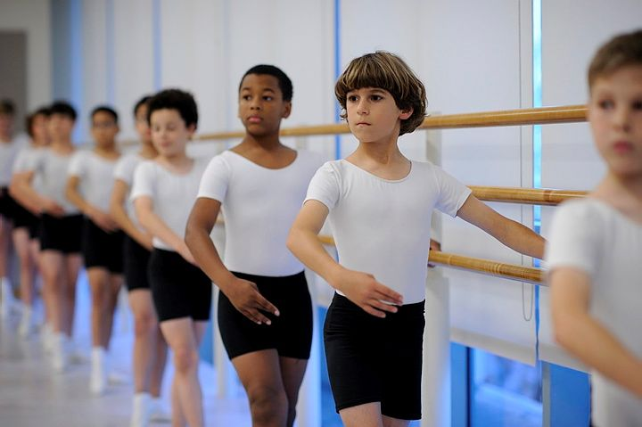At the barre with the level 1 boys of sf ballet school