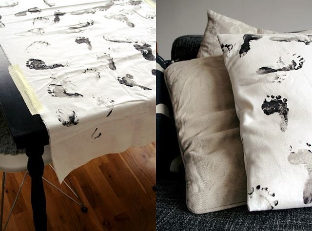 children's hand and foot prints turned into pillows, table runners, ect...