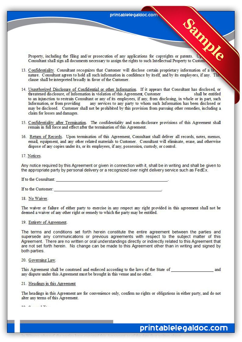 Free Printable Consulting Agreement Sample Printable Legal Forms