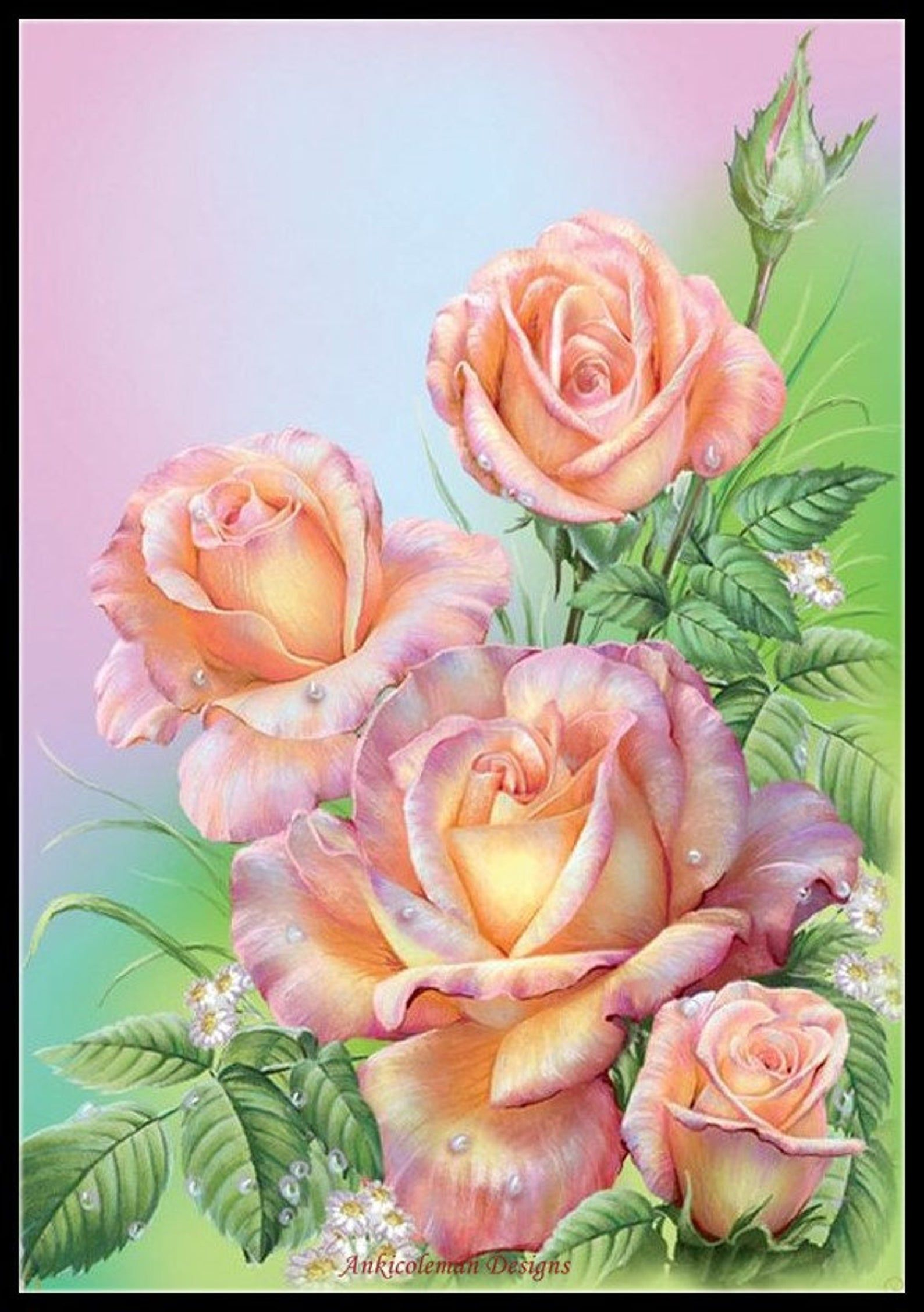 Waterdrop Pink Roses Counted Cross Stitch Patterns Printable Chart Pdf Format Needlework Embroidery Crafts Diy Dmc Color In 2020 Flower Painting Flower Drawing Rose Painting