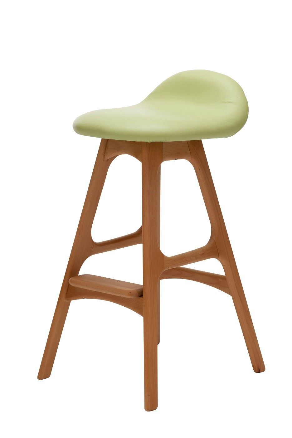 Replica erik buch bar stool 66cm in green leather and beech this sleek and elegant replica erik buch bar stool is sure to be voted the most comfortable