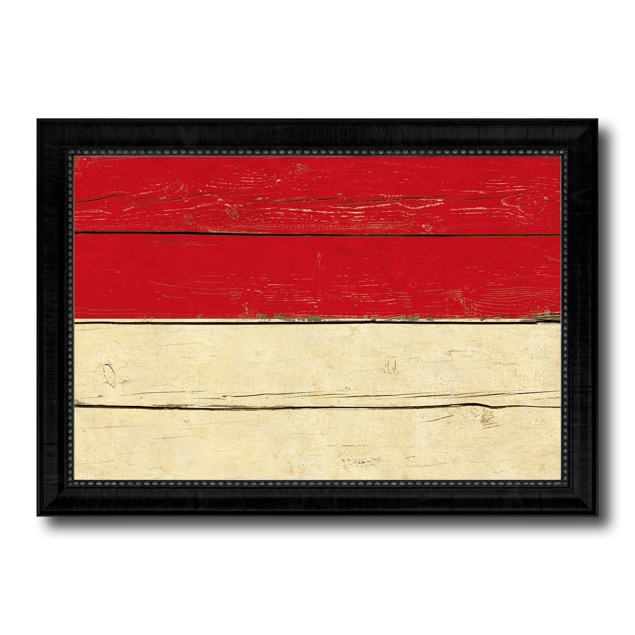 Indonesia Country Flag Vintage Canvas Print with Black Picture Frame ...