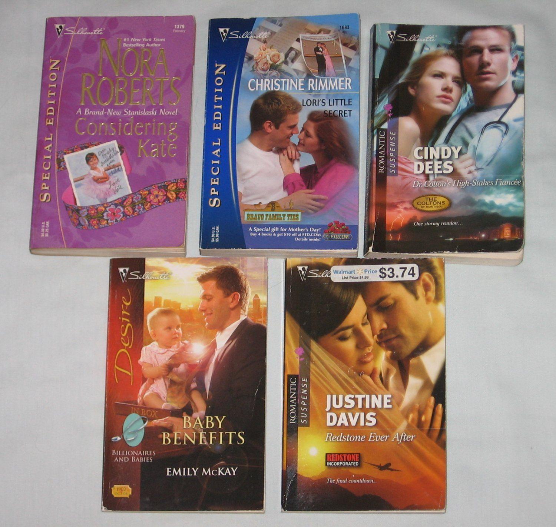 Lot of 5 silhouette books romance suspense nora roberts