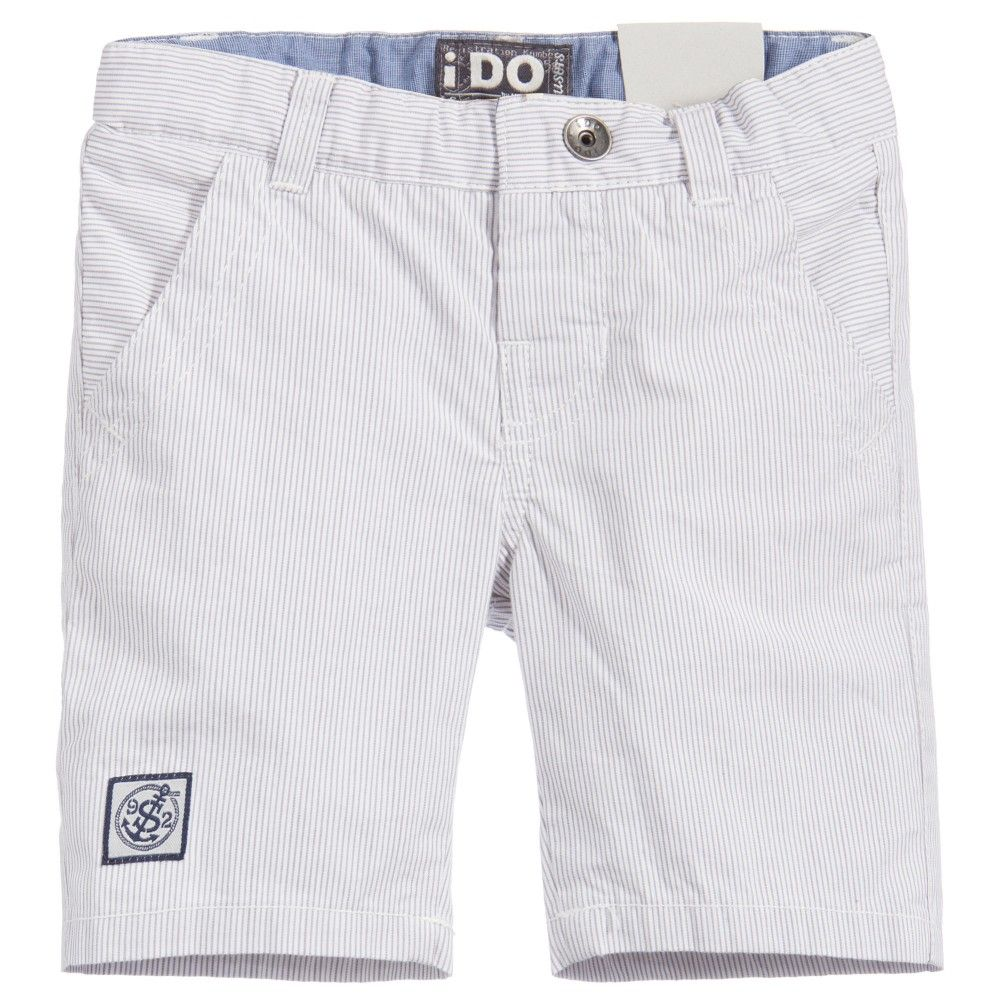 Baby boys grey and white striped cotton bermuda shorts by iDo Baby. Soft and lightweight, they have a nautical appliqué on the side. They have a logo button fly fastener and the waistband can be adjusted to fit. There are two front pockets and two back pockets with button fasteners. <br /> <ul> <li>100% cotton (soft & lightweight)</li> <li>Machine wash (40*C)</li> <li>Button fly fastener </li> <li>Adjustable waistband</li> </ul>