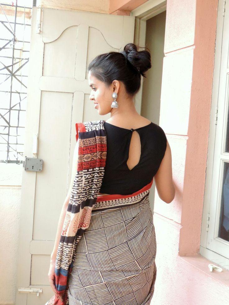 5968c81af2 Kalamkari saree paired with black boat neck blouse  kalamkari   oxidizedjumka  love - blouses