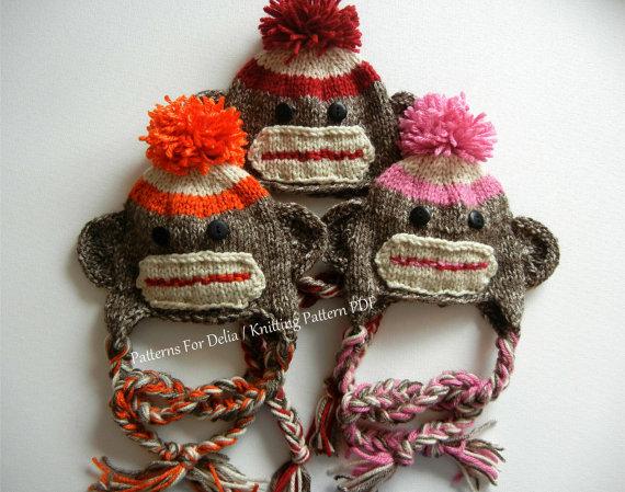 d697ae6b3f3 Sock Monkey Hat KNITTING PATTERN easy beginner newborn infant toddler child  photography prop