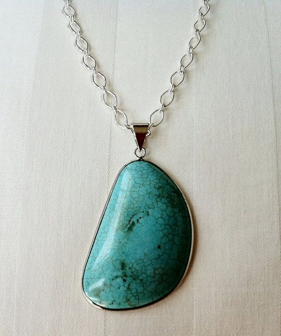 """Beautiful Turquoise Blue Magnesite Pendant on by GemsByJillDesigns.  Simple and sophisticated. This turquoise-blue colored magnesite pendant, which measures 2"""" x 1"""", hangs on a 36-inch 6mm linked silver-plated chain. It is finished with a lobster clasp, and is an essential addition to your jewelry wardrobe!     $24.99"""