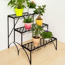 3 TIER METAL GARDEN PLANT POT DISPLAY SHELF STAND FLOWER PATIO DECK IN   OUTDOOR