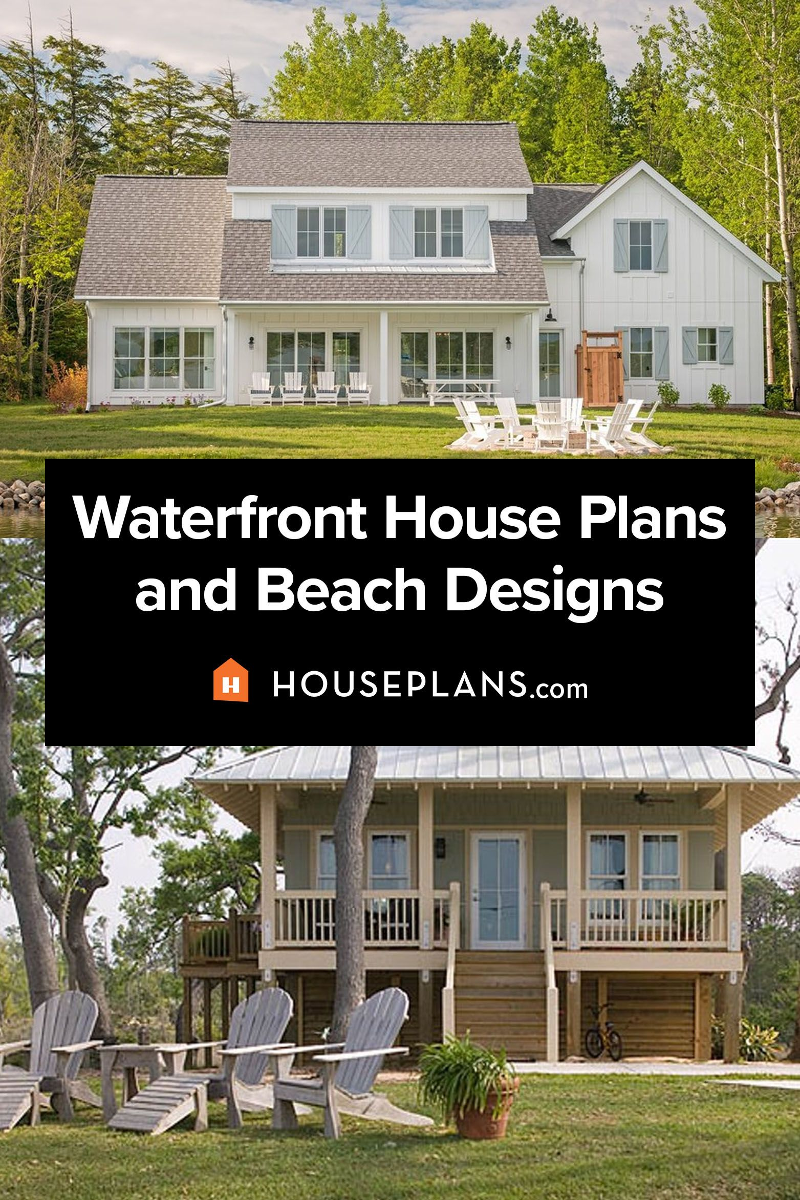 Vacation Home Plans Waterfront House Plans Collection In 2021 Beach House Plans Small Beach House Plans House Plans