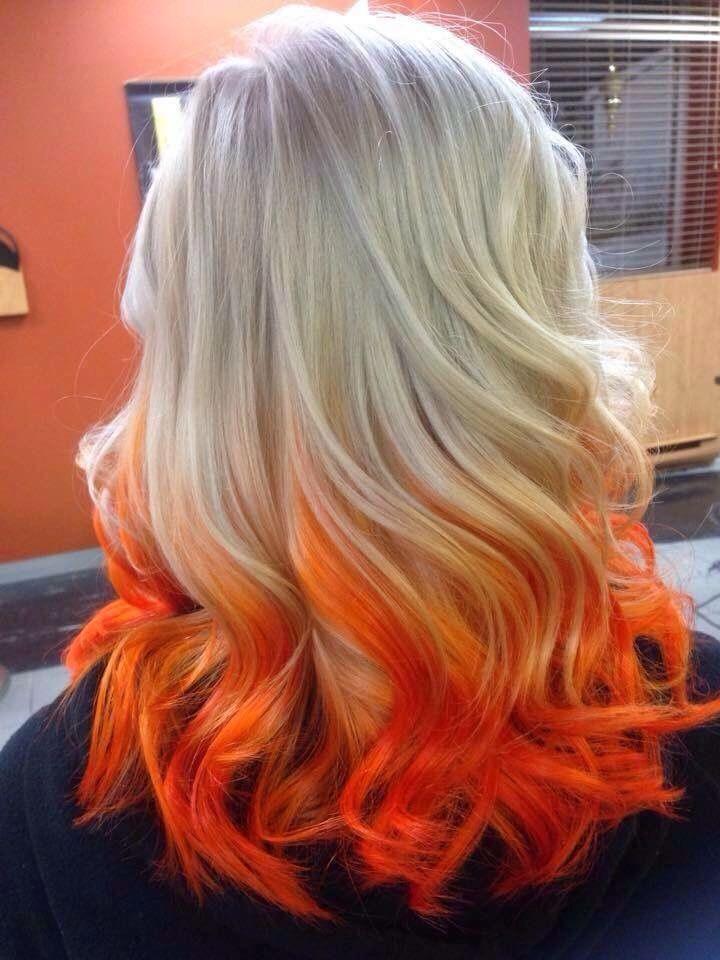 Blonde And Orange Hair Orange Ombre Hair Hair Color Orange