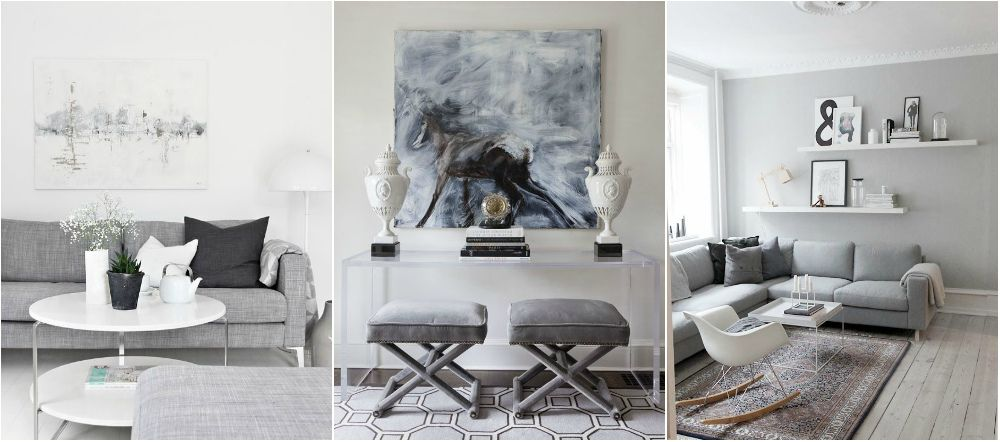 2 Gray Living Room With White Shades · Grey Interior DesignGrey ...