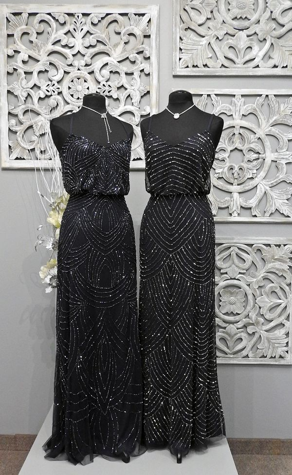 Adrianna Papell Bridesmaids Gowns. Left: Style #09189118 in a size 12 and in the Navy color. Retails for around $335 Right: Style #09186670 in a size 10 and in the Navy color. Retails for around $290