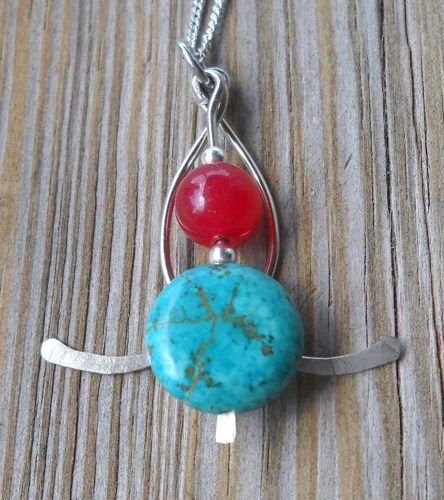 Handmade Turquoise & Red Ruby Silver Pendant Necklace | pavlos - Jewelry on ArtFire