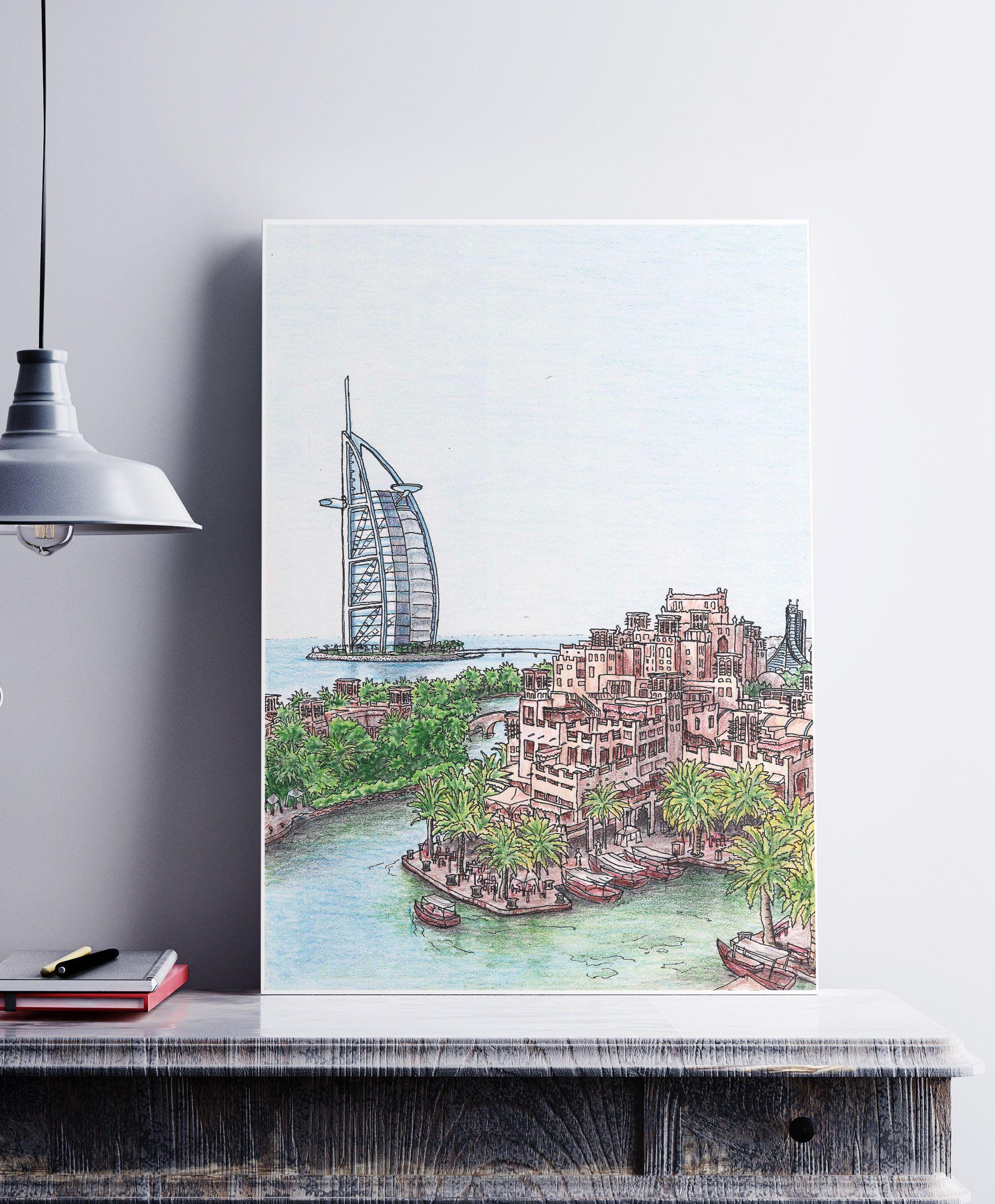 Burj Al Arab Dubai Drawing Poster City Wall Art Art Canvas Artwork