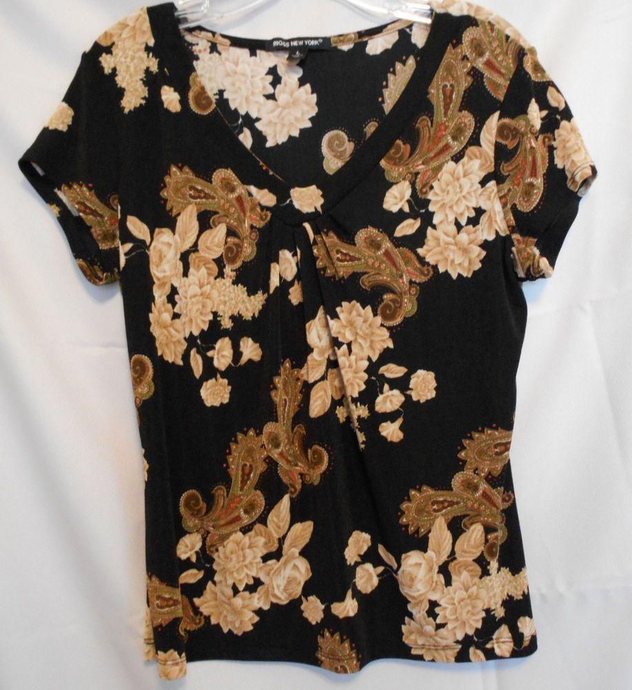 Briggs New York Black Brown Orange Floral Flared Top Poly Spandex Size L #BriggsNewYork #KnitTop #Career