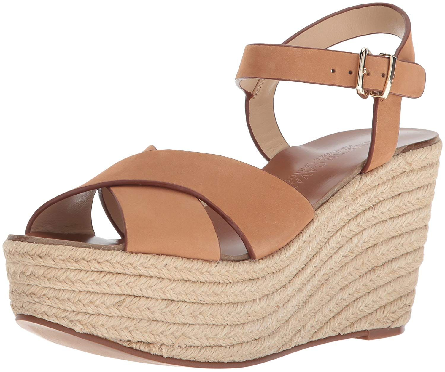 6fe8cb2c884 Peep toe platform espadrille wedge with criss cross upper and metal buckle ankle  strap. Women s Shoes