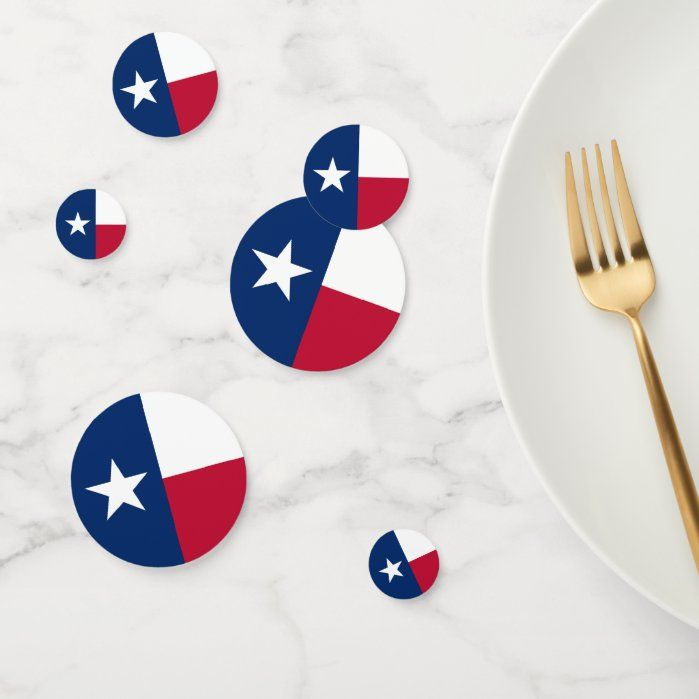 Table confetti with flag of Texas