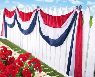 American Flag Hearts Amp Swag July 4th Fence Decoration