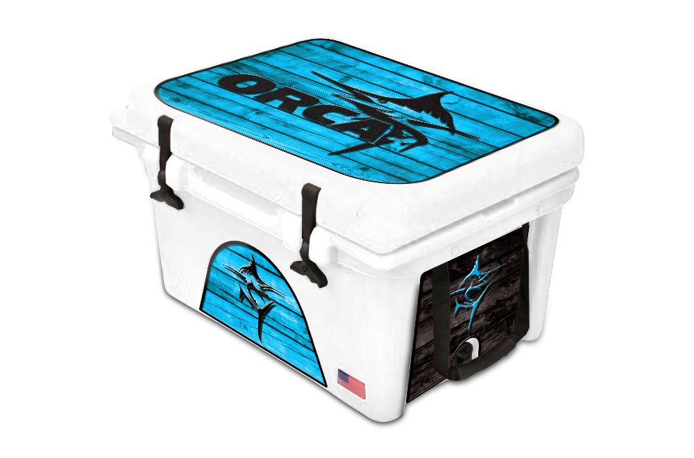 Orca Cooler Accessories Graphic Wrap Kits Marlin Wood Blue Www Usatuff Com Cooler Accessories Cool Wraps Orca