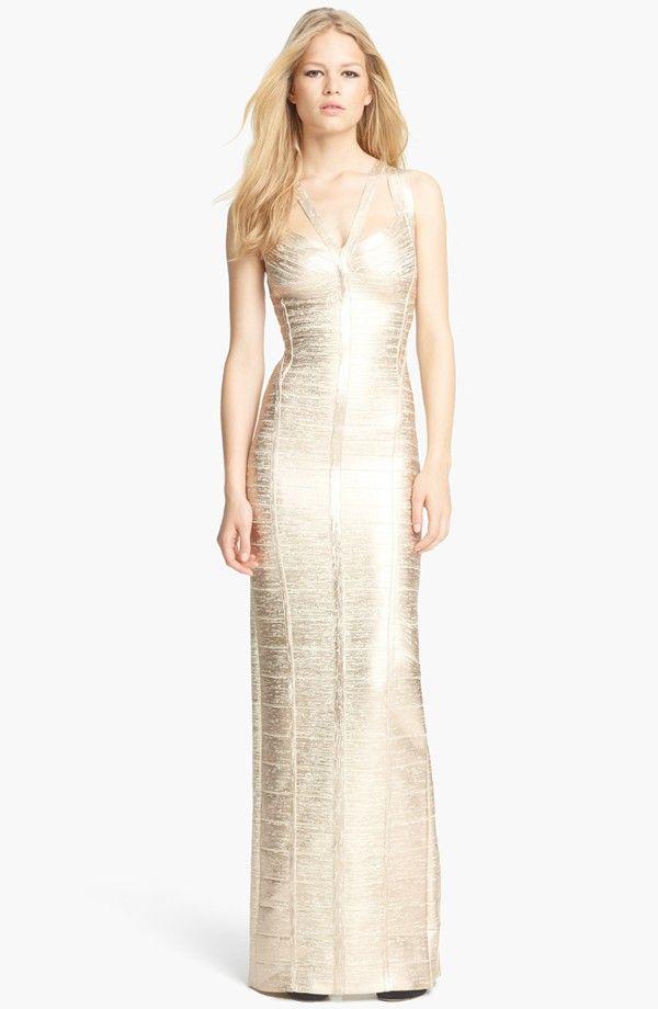 designer:HERVE LEGER details here: V-Neck Metallic Bandage Gown