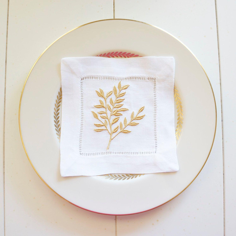 Christmas Stocking Stuffer Gift Idea - Elegant Golden Leaves Embroidered  Cocktail Napkins