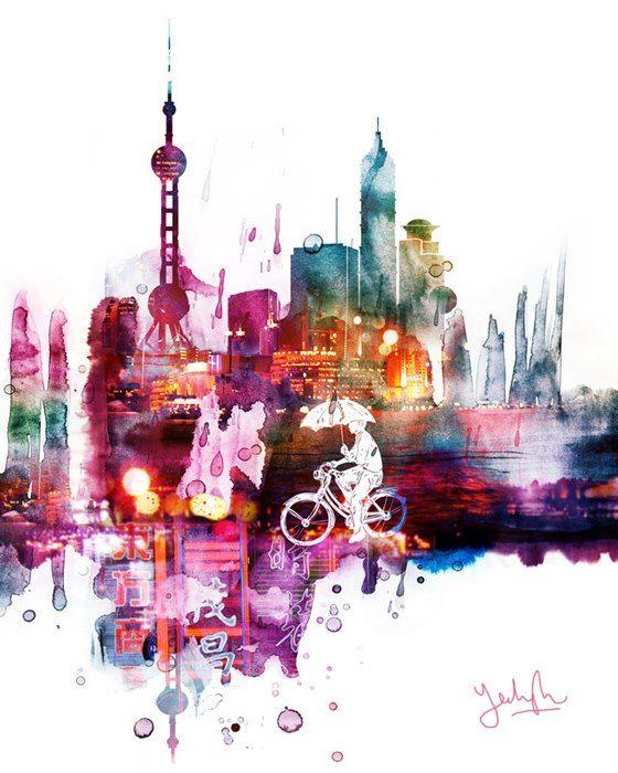 "Shanghai Skyline Watercolor Painting 11/"" x 14/"" Art Print by Artist DJ Rogers"
