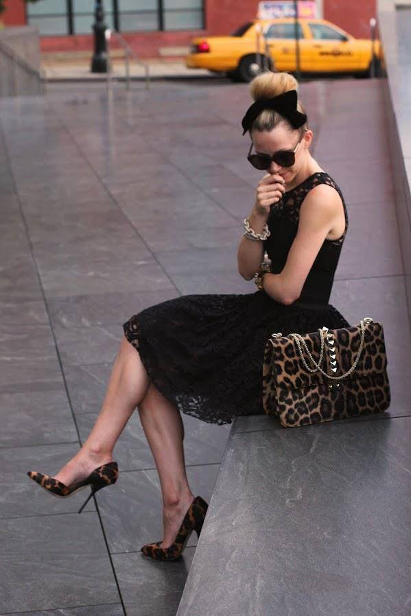 d06cc59e9b4b Black lace dress with leopard print pumps and bag. Perfect evening look!