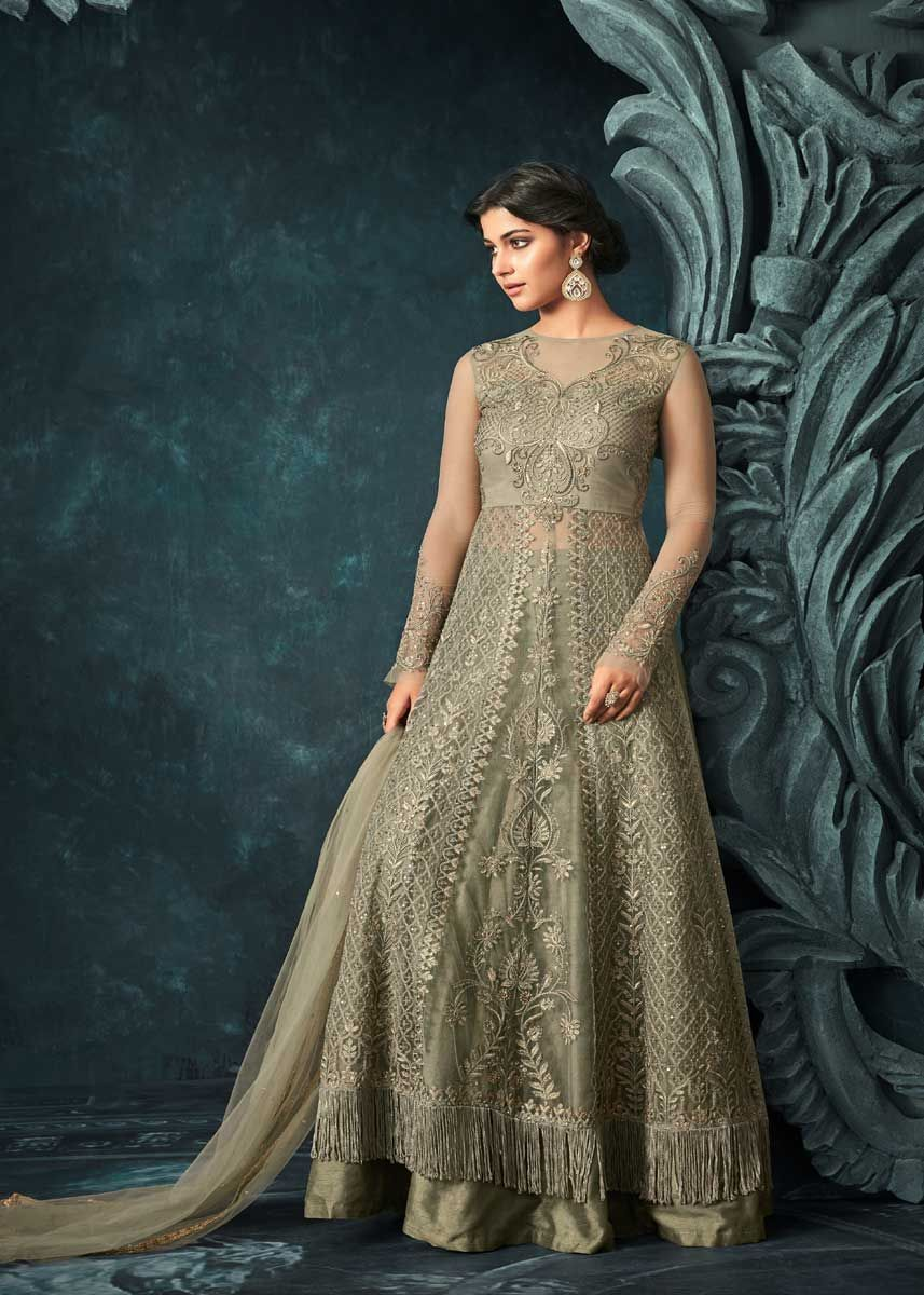 072f37d80e Lovely Olive Green Color Net Fabric Heavy Embroidered Party Wear Anarkali  Suit