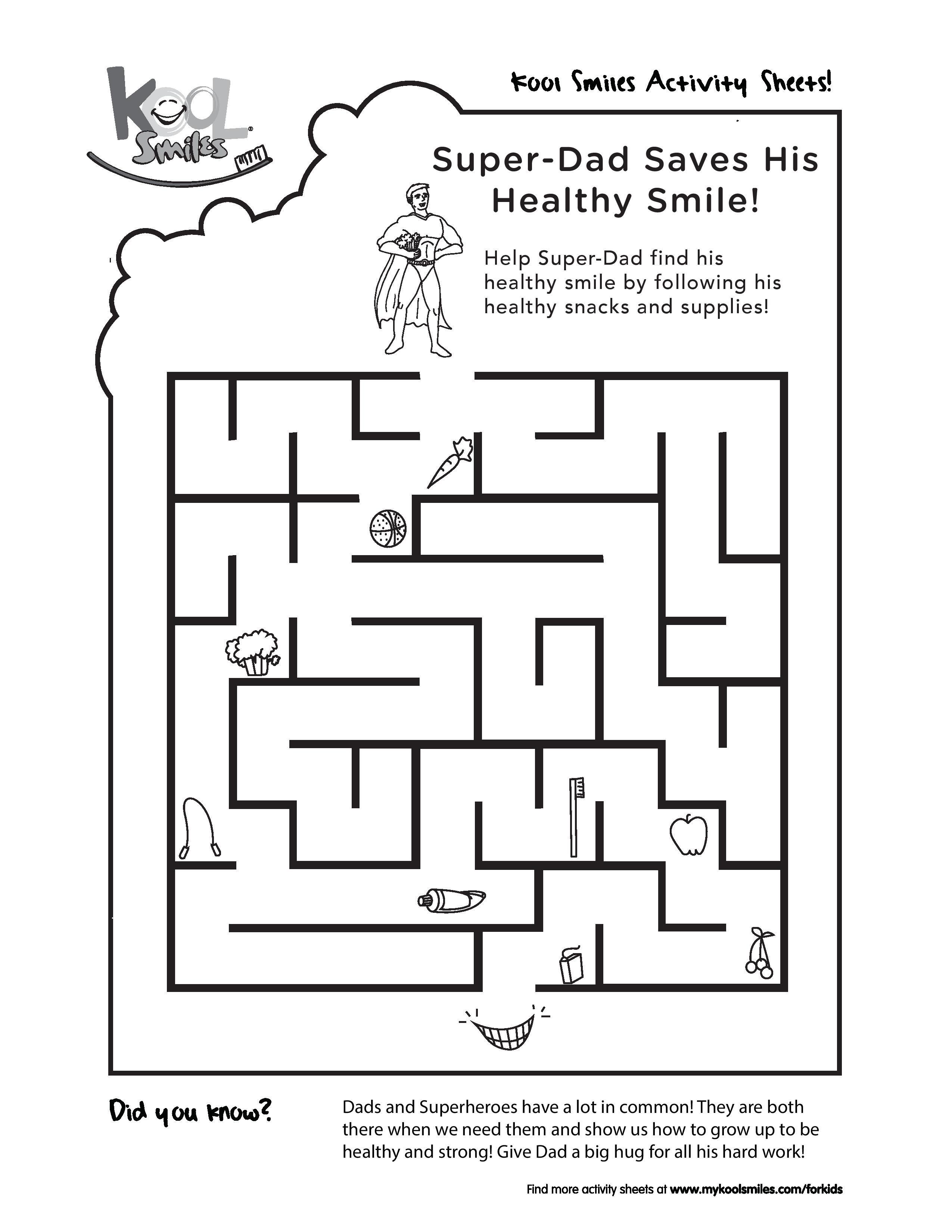 help super dad find his healthy smile - Kids Fun Activity Sheets