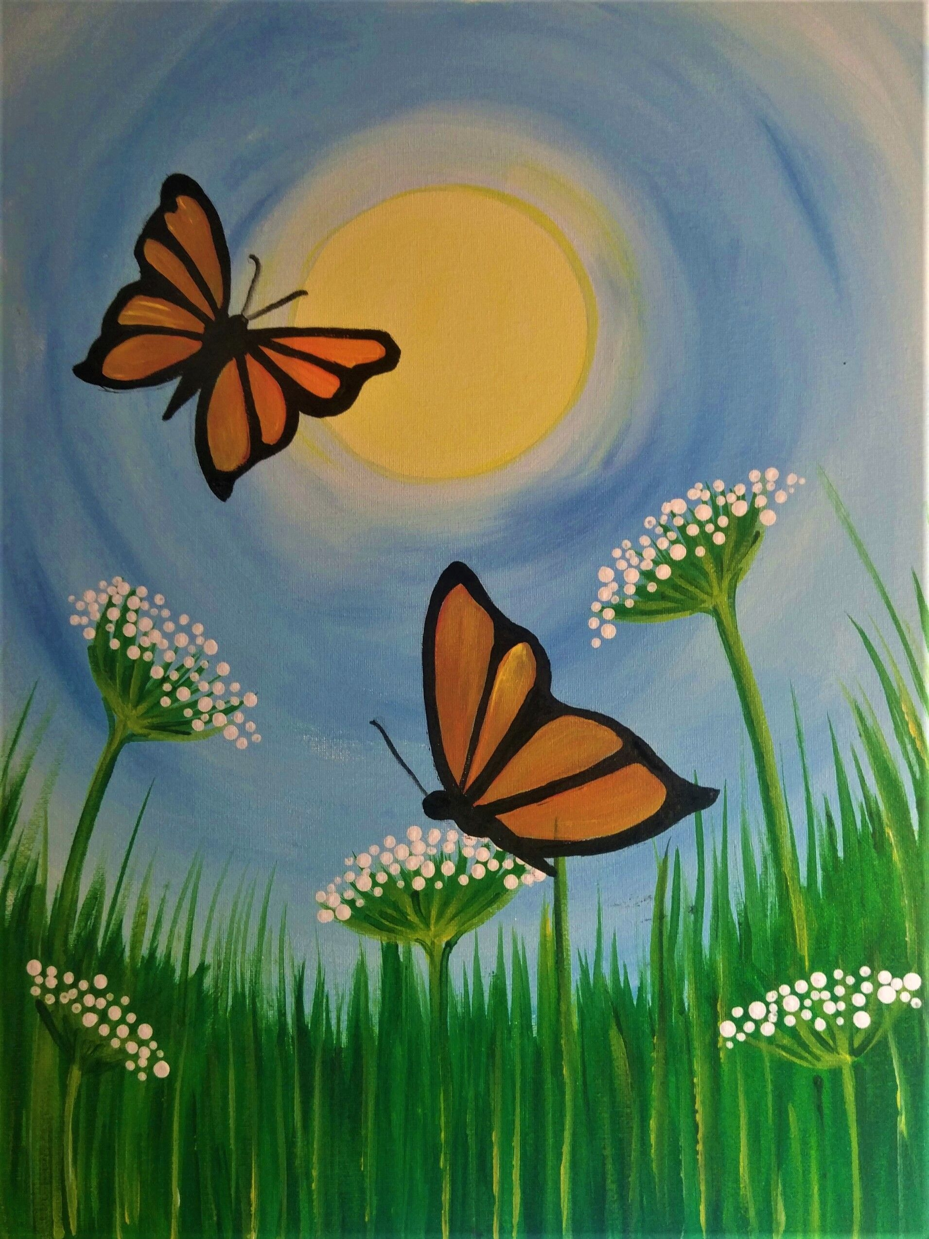 Flight of the Butterfly. Simple acrylic painting of ...