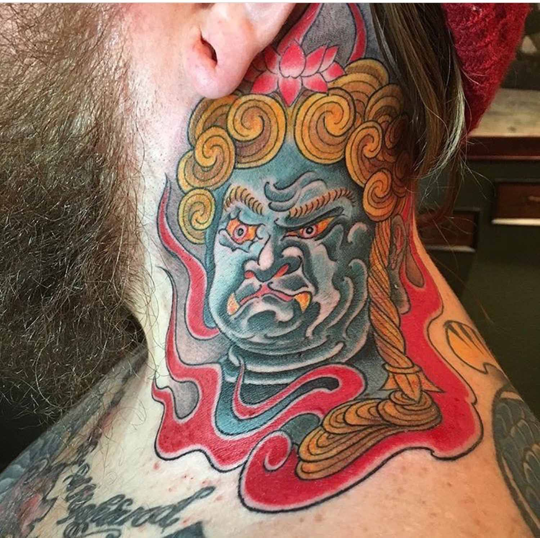 Cash Scott Chapter One Tattoo San Diego Portfolio Japanese Traditional Colour Neck Tattoo Tattoos First Tattoo Neck Tattoo
