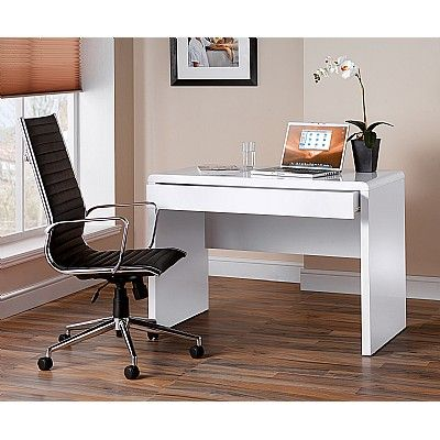 Luxor White Workstation And Bari Faux Leather Executive Chair