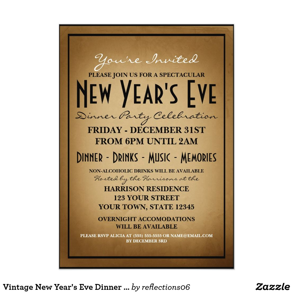 vintage new years eve dinner party invitation make your new years eve party an event to
