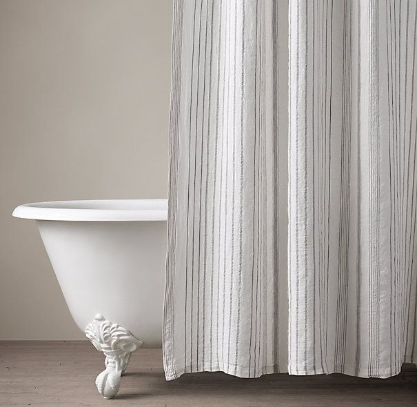 Italian Stripe Jacquard Linen Shower Curtain Primitive Bathrooms