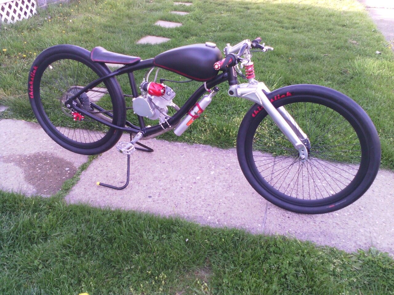 80cc fun built out of scrap parts motorized bicycle for Little motors for bicycles