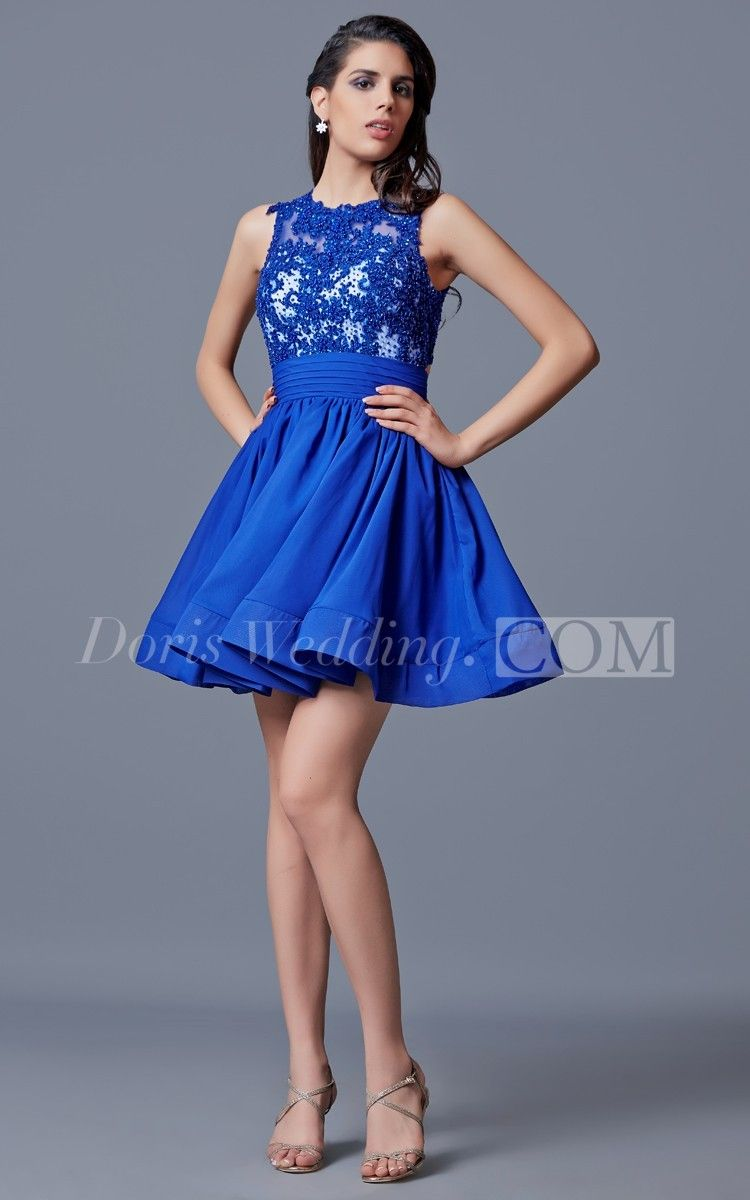 Lovely sleeveless short tulle vintage prom dress with lace sheer
