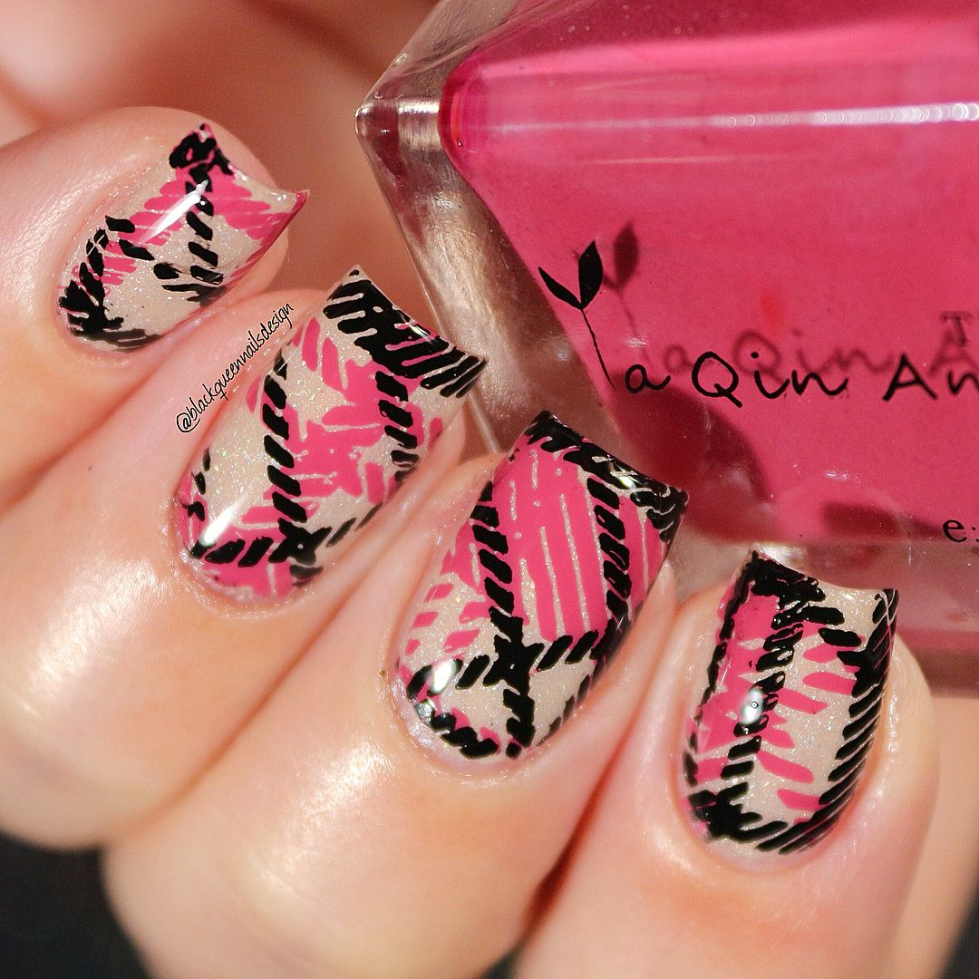 Stamping acrylic layered plate plaid make up and nails