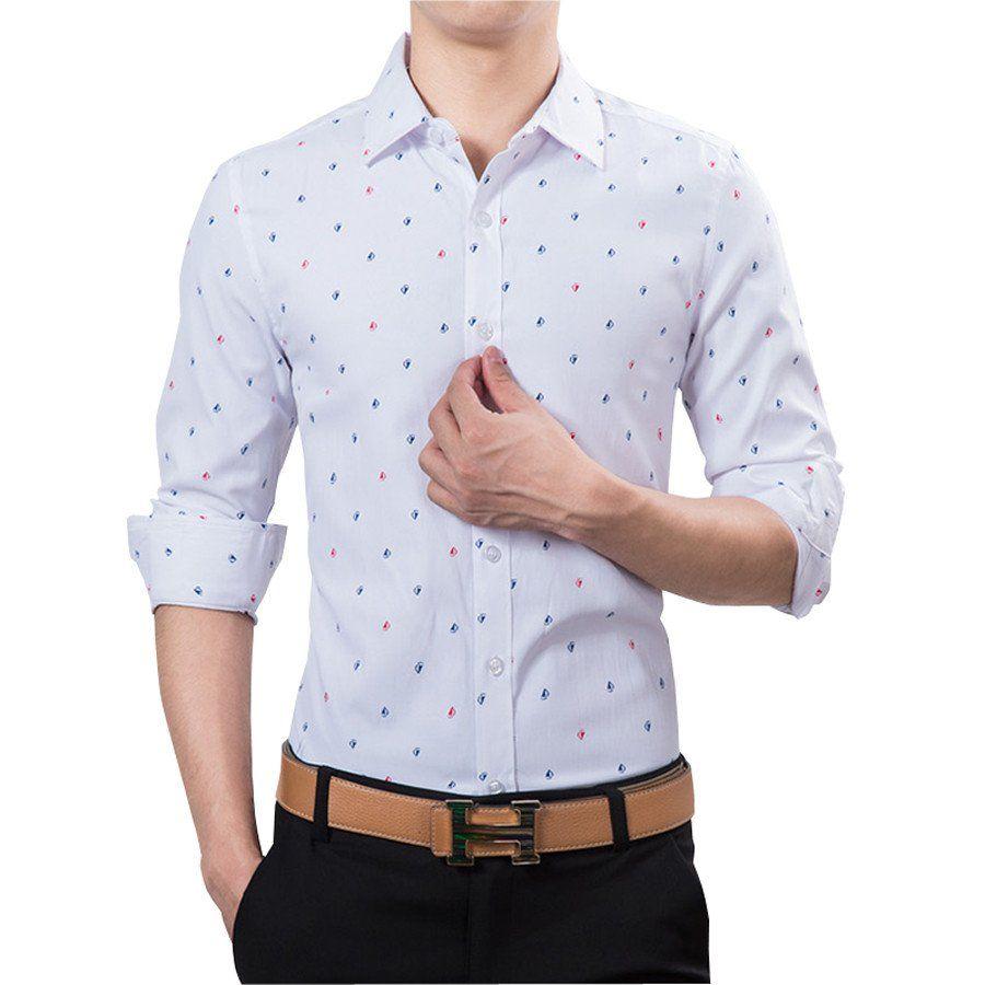 Shirt design images 2017 - New 2017 Brand Men Shirt Slim Fit Casual Shirts Men Fashion Polka Dot Print Luxury Dress