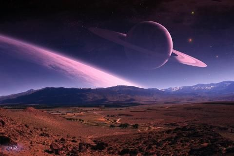 Digital art landscapes outer space planets rings awesome for Outer space landscape