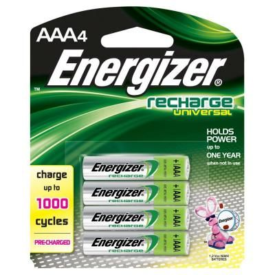 Energizer 4 Pack Of Recharge Universal 700 Mah Nimh Aaa Rechargeable Batteries Unh12bp 4 The Home Depot Rechargeable Batteries Energizer Battery Energizer