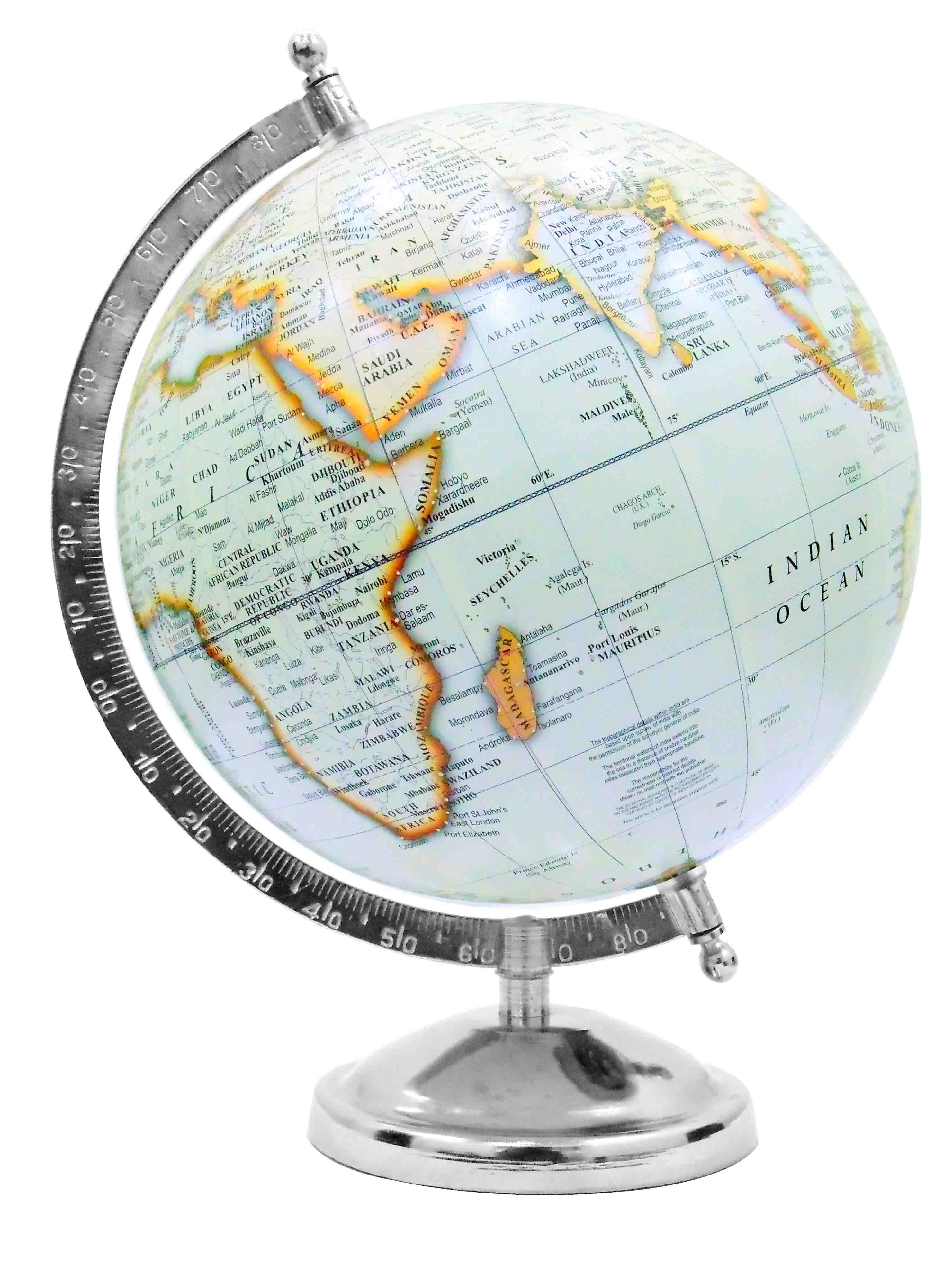 A classic styled desk globe in wonderful white ocean colour it has a classic styled desk globe in wonderful white ocean colour it has a plastic globe ball of 8 inches diameter with nickel plated metal base of 45 inches gumiabroncs Images